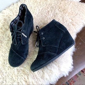 TOM suede desert wedge lace up ankle boot black